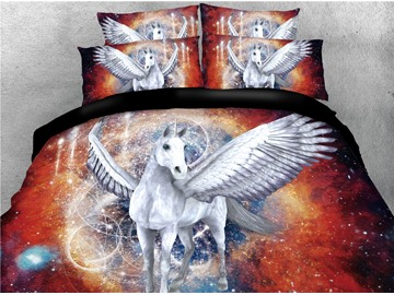 White Unicorn with Wings and Galaxy Printing 3D 4-Piece Bedding Sets/Duvet Covers