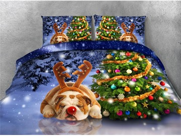 Christmas Tree and Sleeping Dog Printing 4-Piece 3D Bedding Sets/Duvet Covers