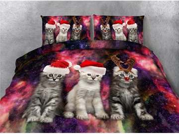Cats with Christmas Hat Galaxy Printing 4-Piece 3D Bedding Sets/Duvet Covers