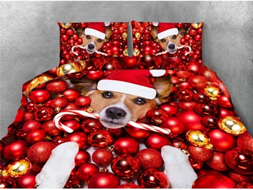 Dog Wearing Christmas Hat and Red Ornaments Printing 4-Piece 3D Bedding Sets/Duvet Covers