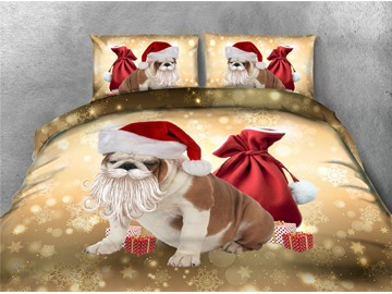 Dog Sticking Beard &Christmas Hat Printing 4-Piece 3D Bedding Sets/Duvet Covers