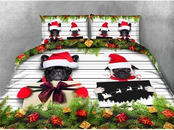 Christmas Gifts and Black Dogs Printing 4-Piece 3D Bedding Sets/Duvet Covers