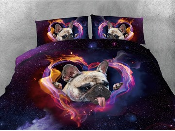 Puppy and Heart-shaped Purple Galaxy Printing 4-Piece 3D Bedding Sets/Duvet Covers