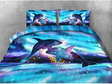Jumping Dolphins and Shiny Galaxy Printing 4-Piece Blue 3D Bedding Sets/Duvet Covers