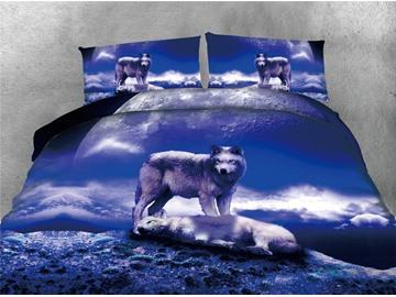 Wolves under the Moon Purple Printing Cotton 4-Piece 3D Bedding Sets/Duvet Covers