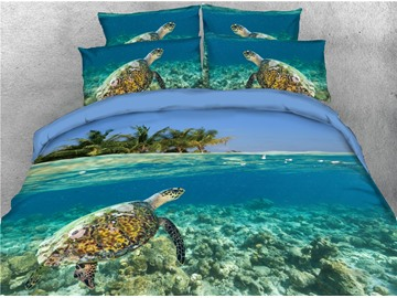 Turtle and Limpid Ocean Printing 3D 4-Piece Bedding Sets/Duvet Covers