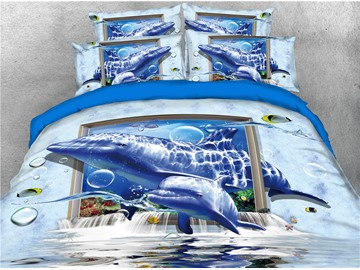 Dolphins and and Photo Frame Printing Cotton 4-Piece 3D Bedding Sets/Duvet Covers