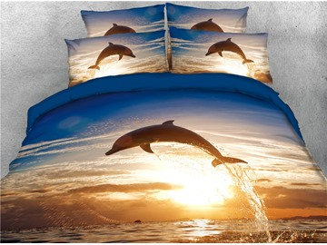 Jumping Dolphins and Water Printing Cotton 3D 4-Piece Bedding Sets/Duvet Covers