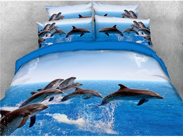 Dolphins Jumping in the Blue Water Printing Cotton 4-Piece 3D Bedding Sets/Duvet Covers