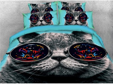 Black Cat Wearing Sunglasses Printed 4-Piece 3D Bedding Sets/Duvet Covers