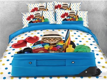 Cat and Blue Luggage Printed 4-Piece 3D Bedding Sets/Duvet Covers