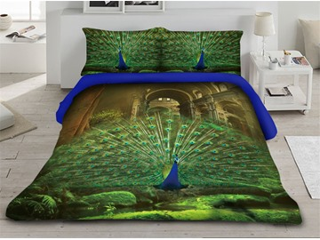 Peacock Spread its Feathers Printed 3D 4-Piece Bedding Sets/Duvet Covers