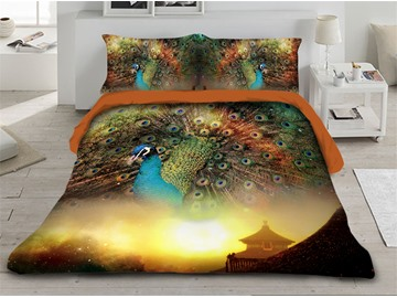 A Peacock in His Pride and Sunlight Printed 3D 4-Piece Bedding Sets/Duvet Covers