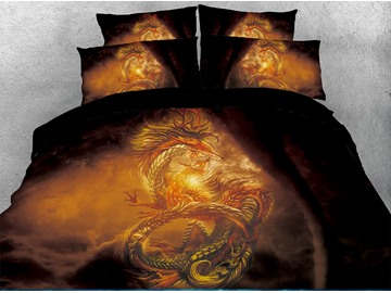 Golden Powerful Dragon Black Printed 4-Piece 3D Bedding Sets/Duvet Covers