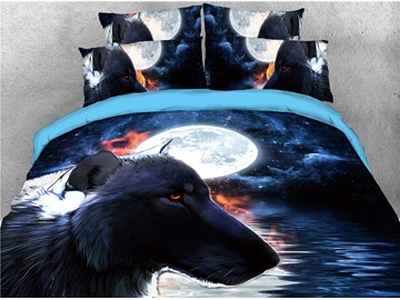 Wolf Under the Moon and Water Printed 4-Piece 3D Bedding Sets/Duvet Covers