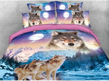 Wolves and Snow Cover Scenery Printed 4-Piece 3D Bedding Sets/Duvet Covers