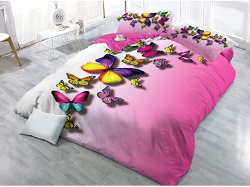 Vivid Flying Butterflies Printed 4-Piece 3D Pink Bedding Sets/Duvet Covers