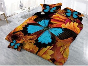 Blue Butterfly and Sunflower Printed 4-Piece 3D Bedding Sets/Duvet Covers