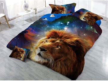 Lion Head and Galaxy Printed Cotton 3D 4-Piece Bedding Sets/Duvet Covers