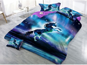 Galaxy Unicorn Printed 3D 4-Piece Bedding Sets/Duvet Covers