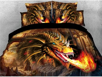 Golden Dragon Spouting Fire Printed 4-Piece 3D Bedding Sets/Duvet Covers