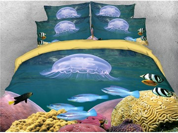Jellyfish and Fish Marine Theme Printed 4-Piece 3D Bedding Sets/Duvet Covers
