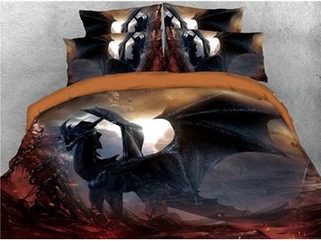 Black Dragon with Wings Printed 4-Piece 3D Bedding Sets/Duvet Covers