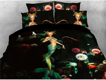 Mermaid and Flower Printed 4-Piece 3D Bedding Sets/Duvet Covers