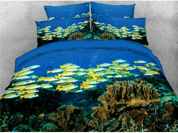 Yellow Fish Sea World Printed Blue 4-Piece 3D Bedding Sets/Duvet Covers