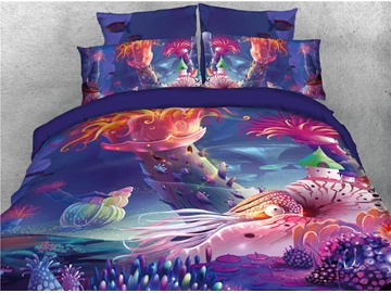 Underwater World Fish Red Printed 4-Piece 3D Bedding Sets/Duvet Covers
