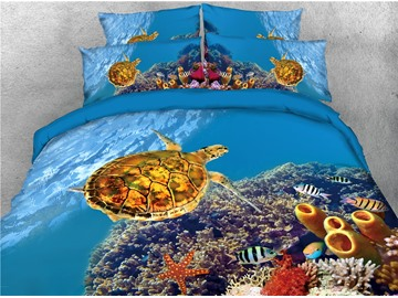 Golden Turtle Fish and Coral Sea World Printed 4-Piece 3D Bedding Sets/Duvet Covers