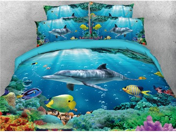 Yellow Fish and Whale in Abysmal Sea Printed 4-Piece 3D Bedding Sets/Duvet Covers