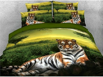 Lying Tiger and Green Grass Printed 3D 4-Piece Bedding Sets/Duvet Covers