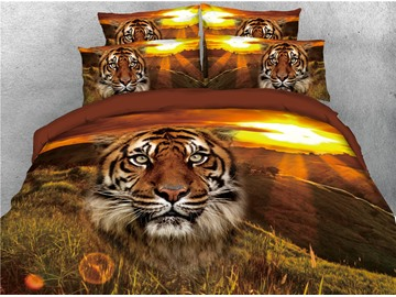 Tiger Head and Grassland Sunset Printed 4-Piece 3D Bedding Sets/Duvet Covers
