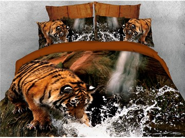 Tiger Drinking Water Printed 4-Piece 3D Bedding Sets/Duvet Covers