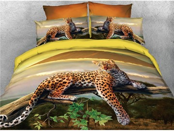 Leopard Lying on the Branch Printed 4-Piece 3D Bedding Sets/Duvet Covers