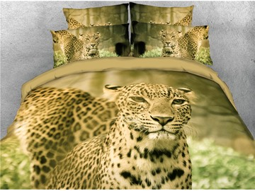 Wild Leopard Animal 3D Digital Printing 4-Piece 3D Bedding Sets/Duvet Covers