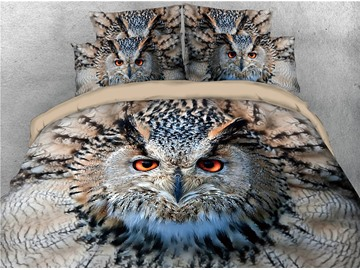 Owl with Sharp Eyes Printed 4-Piece 3D Bedding Sets/Duvet Covers