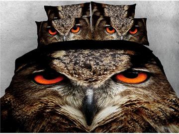 Owl's Sharp Eyes Printed 4-Piece 3D Bedding Sets/Duvet Covers