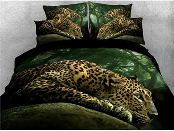 Leopard and Jungle Printed 3 Pattern 4-Piece 3D Bedding Sets/Duvet Covers