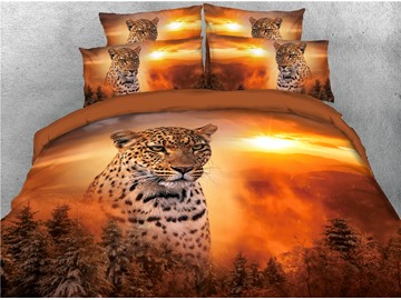 Leopard and Sunset Jungle Printed 3 Pattern 4-Piece 3D Bedding Sets/Duvet Covers