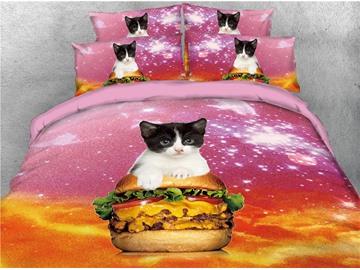 Cat Riding Hamburger and Galaxy Printed 4-Piece 3D Bedding Sets/Duvet Covers