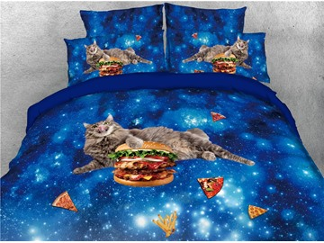 Cat Hamburger and Blue Galaxy Digital Printing 4-Piece 3D Bedding Sets/Duvet Covers