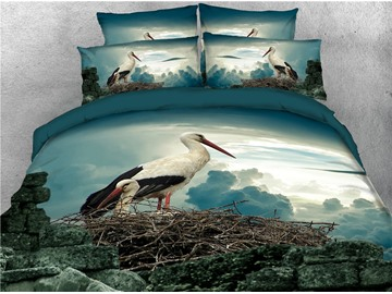 Crane Animal Printed 4-Piece 3D Bedding Sets/Duvet Covers