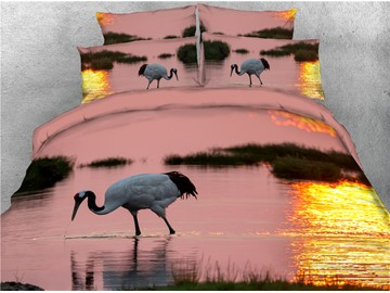 Crane in the Lake and Sunset Printed 4-Piece 3D Bedding Sets/Duvet Covers