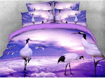 Crane Digital Printed Purple 4-Piece 3D Bedding Sets/Duvet Covers