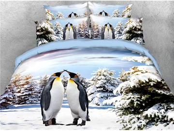Kissing Penguin Lovers Printed 3D 4-Piece Bedding Sets/Duvet Covers
