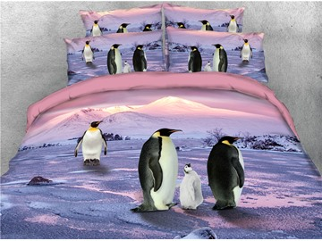 Cute Penguin Baby and Parents Printed 3D 4-Piece Bedding Sets/Duvet Covers