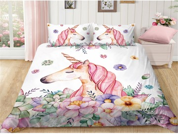 Handle Delicated And Breathable Cute Unicorn Printed 4-Piece Bedding Sets/Duvet Covers