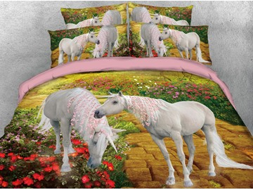 Two Unicorns With Little Pink Flowers In The Bushes 3D Printed 4-Piece Polyester Bedding Sets/Duvet Covers